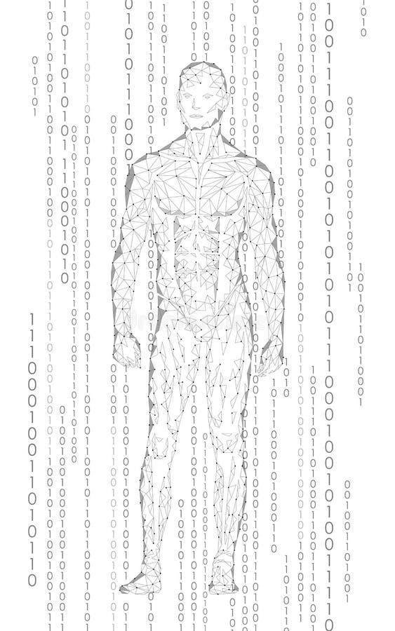 Bevindende cyberspace van de Humanoid androïde mens binaire code Het lage poly veelhoekige menselijke lichaam van de robotkunstma vector illustratie