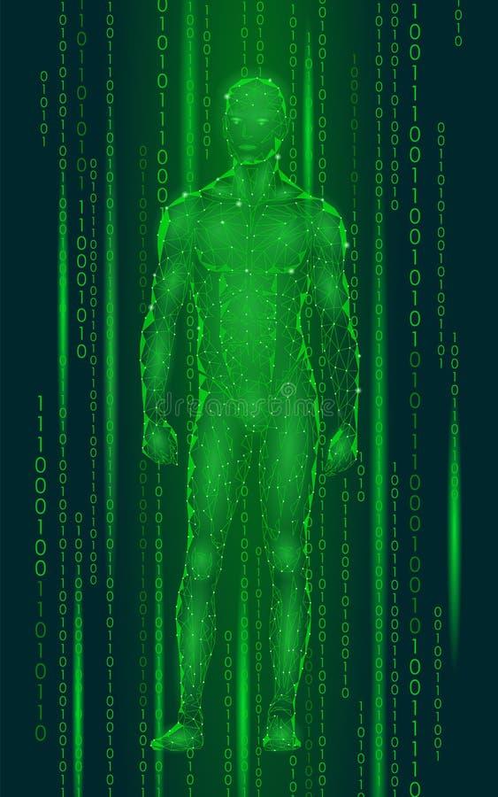 Bevindende cyberspace van de Humanoid androïde mens binaire code Het lage poly veelhoekige menselijke lichaam van de robotkunstma royalty-vrije illustratie