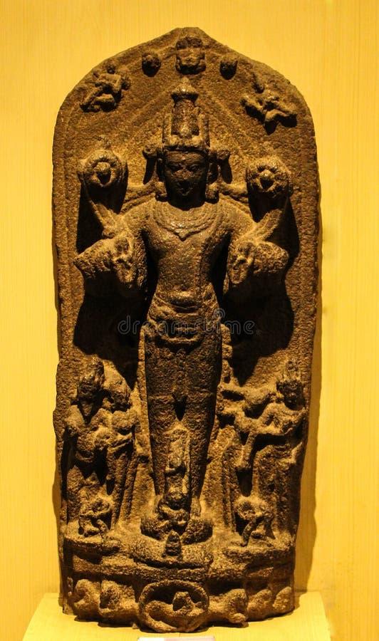 Bevindende de 12de Eeuwadvertentie van Surya On Chariot Granite Stone royalty-vrije stock afbeeldingen
