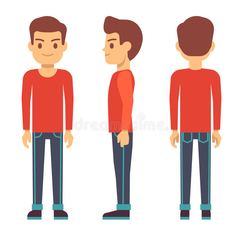 Bevindende jonge mens, jongenskarakter in voor, achter, zijaanzicht in vrijetijdskledings vectorreeks vector illustratie
