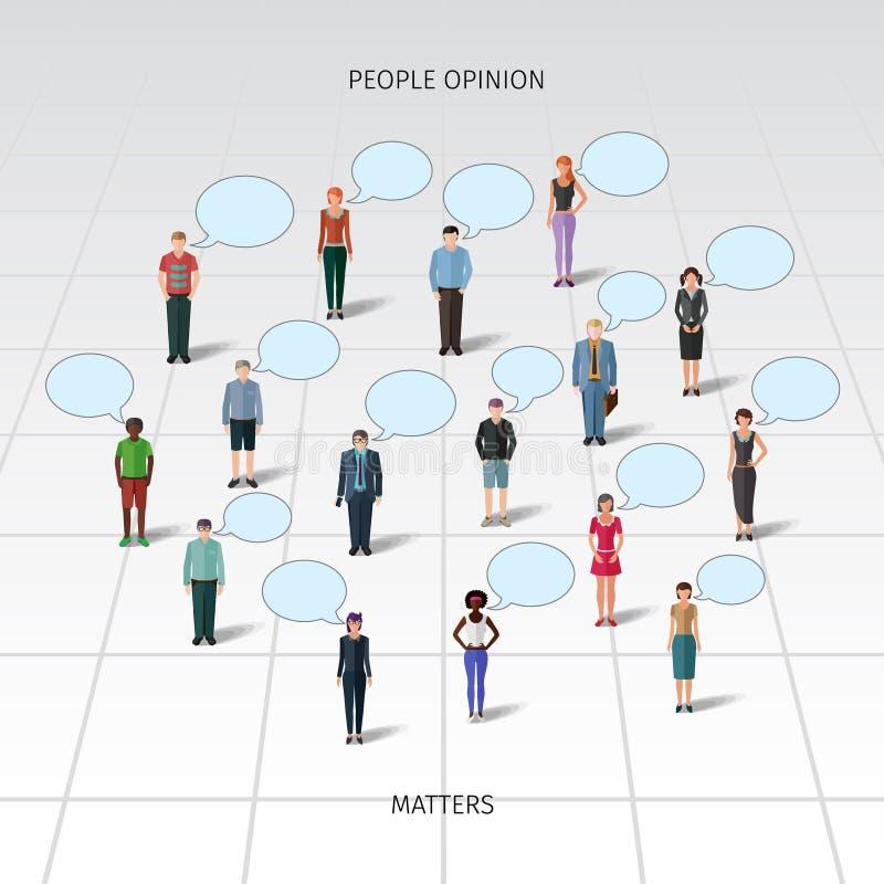 Bevindende mensen met toespraakbellen stock illustratie