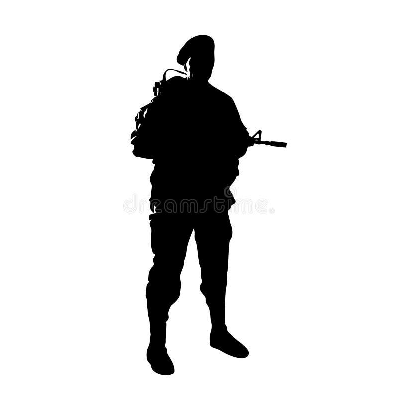 Bevindende militair met een kanon vector illustratie