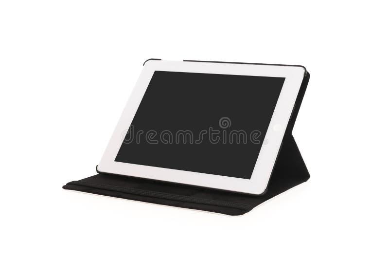 Bevindende tablet op geïsoleerde achtergrond met het knippen van weg stock afbeeldingen