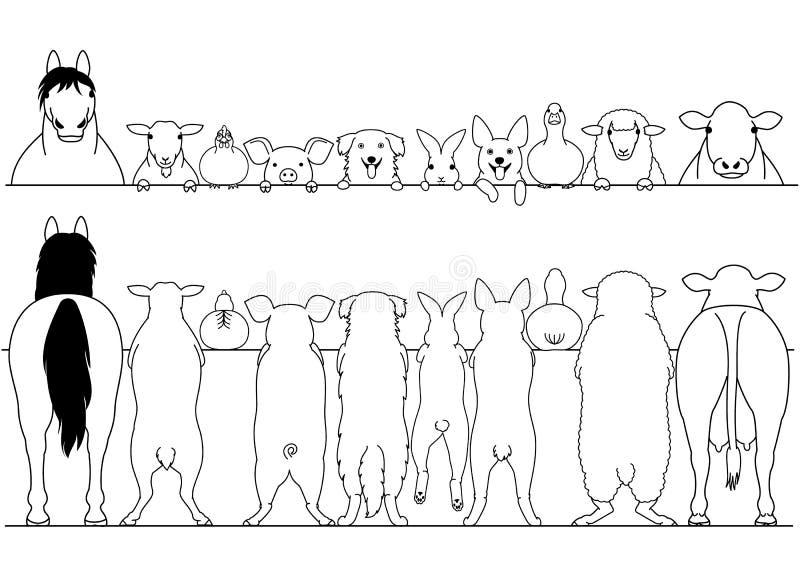 Bevindende voor en achter de grensreeks van landbouwbedrijfdieren stock illustratie