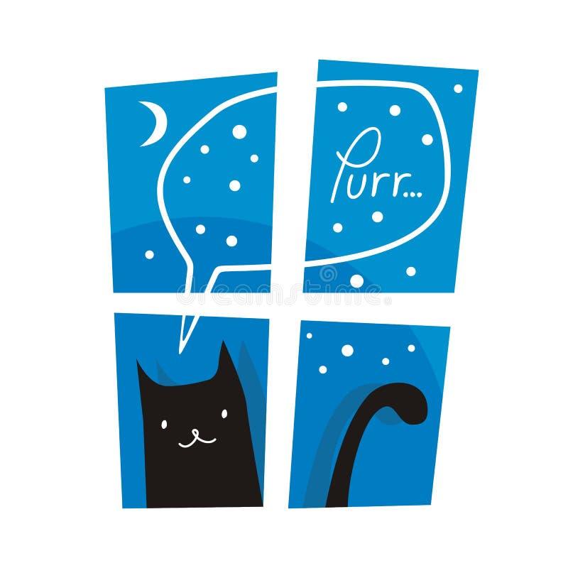 Bevindende zwarte kat vector illustratie