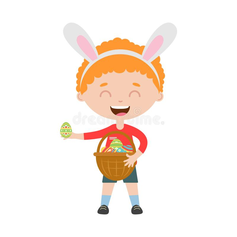 Bevindt de lachende jongen van het de lenteroodharige zich met konijntjesoren en houdt mand met eieren vector illustratie