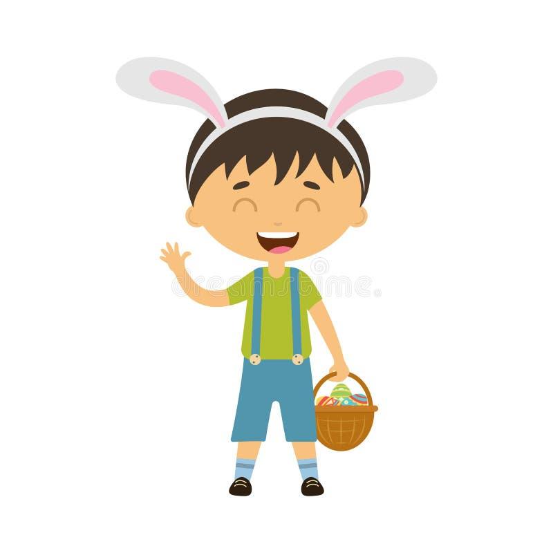 Bevindt de de lente lachende jongen zich met konijntjesoren en houdt mand met eieren royalty-vrije illustratie