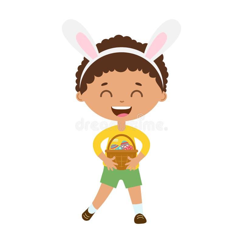 Bevindt de de lente lachende jongen zich met konijntjesoren en houdt mand met eieren vector illustratie