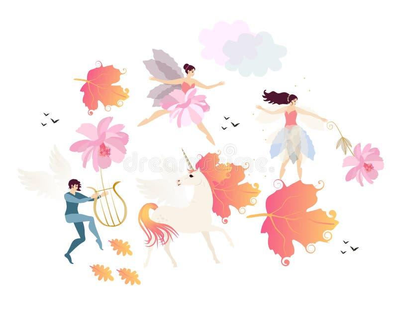 Bevingad älva att spela lyran, enhörningen med man i form av höstsidor, fen, ballerina, molnet, fåglar och rosa blommor stock illustrationer