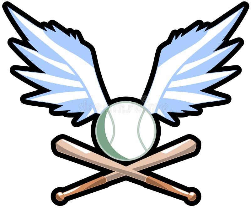 Bevingad baseballboll med slagträn vektor illustrationer