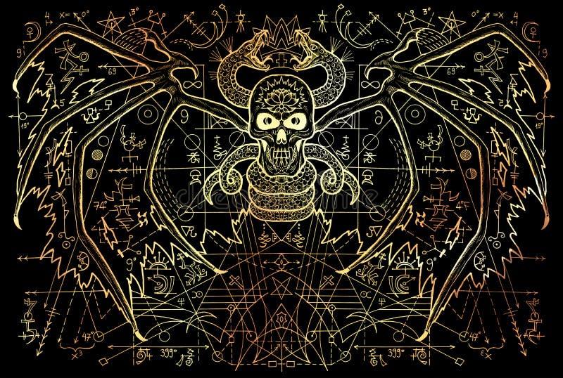 Bevingad demon och orm med mystiska symboler och geometrisk linje på svart stock illustrationer