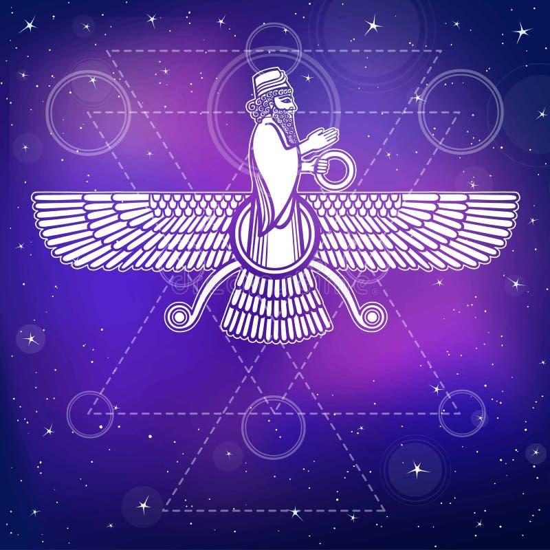 Bevingad gud för forntida assyrier Tecken av Sumerian mytologi royaltyfri illustrationer