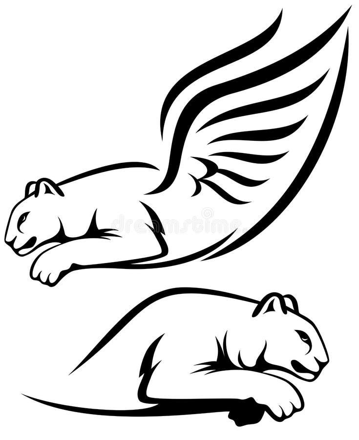 Bevingad lionsdesign vektor illustrationer
