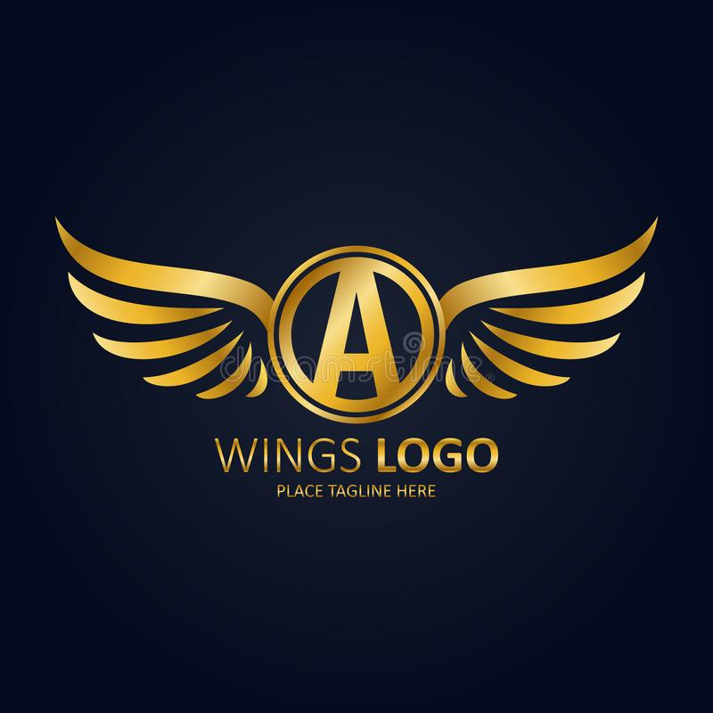 Bevingad sköldvit med en krona TeInitial bokstav A för symbol med guld- design för vingsymbol royaltyfri illustrationer