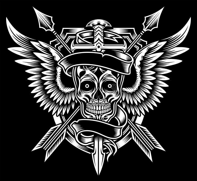 Bevingad skalle med svärdet och pilar royaltyfri illustrationer
