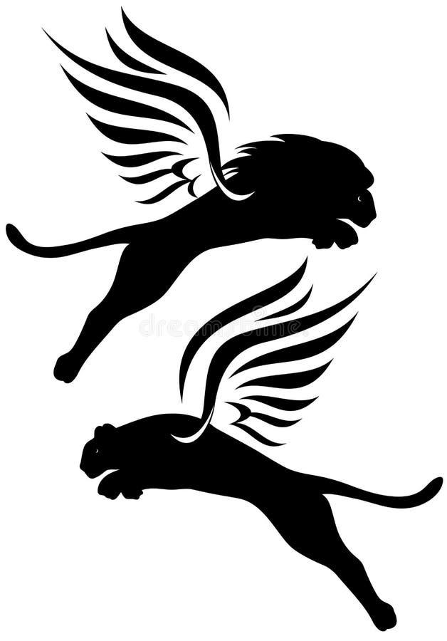 Bevingada lions stock illustrationer
