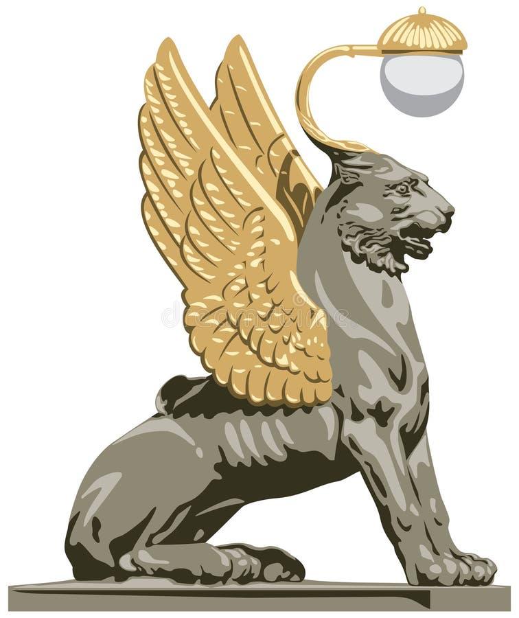 Bevingat lejon från St Petersburg i vektor stock illustrationer