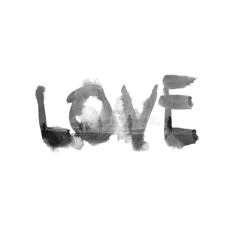 Bevlekt grungy met de hand geschreven woord - Liefde stock illustratie