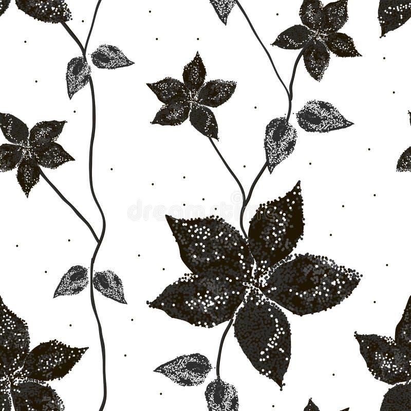 Bevlekt Silhouet van amaryllisbloemen met bladeren vector illustratie