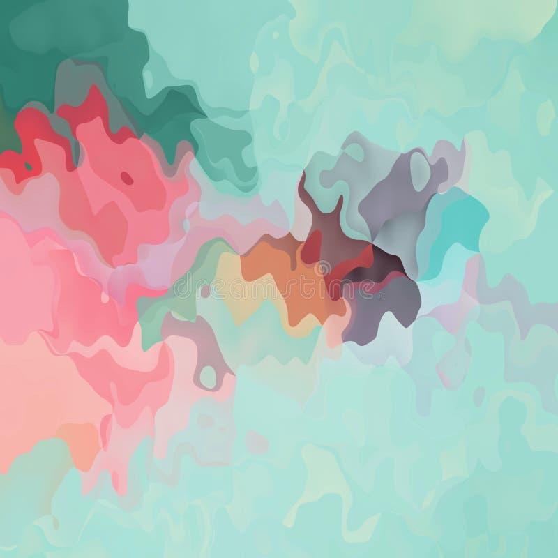 Bevlekte van de patroontextuur vierkante groene munt als achtergrond, pijnboom, roze, mauve, grijze kleur - moderne het schildere vector illustratie