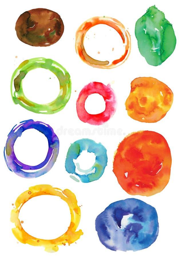 Bevlekten de waterverf onregelmatige ringen, wielen, vectorkunstkaders, abstracte vormen vector illustratie