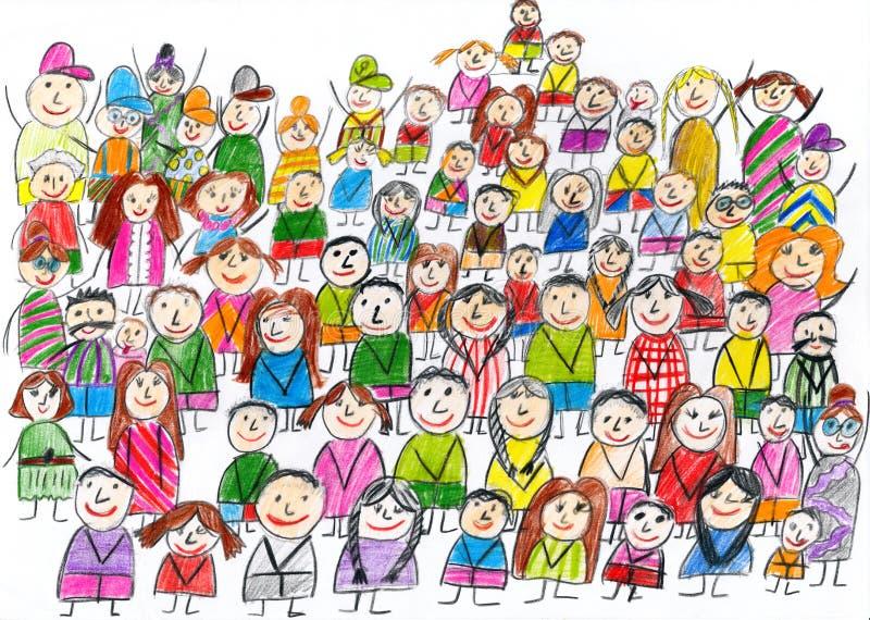 Bevolkt het portret van de teamgroep, kinderen die voorwerp trekken op document, hand getrokken kunstbeeld royalty-vrije illustratie