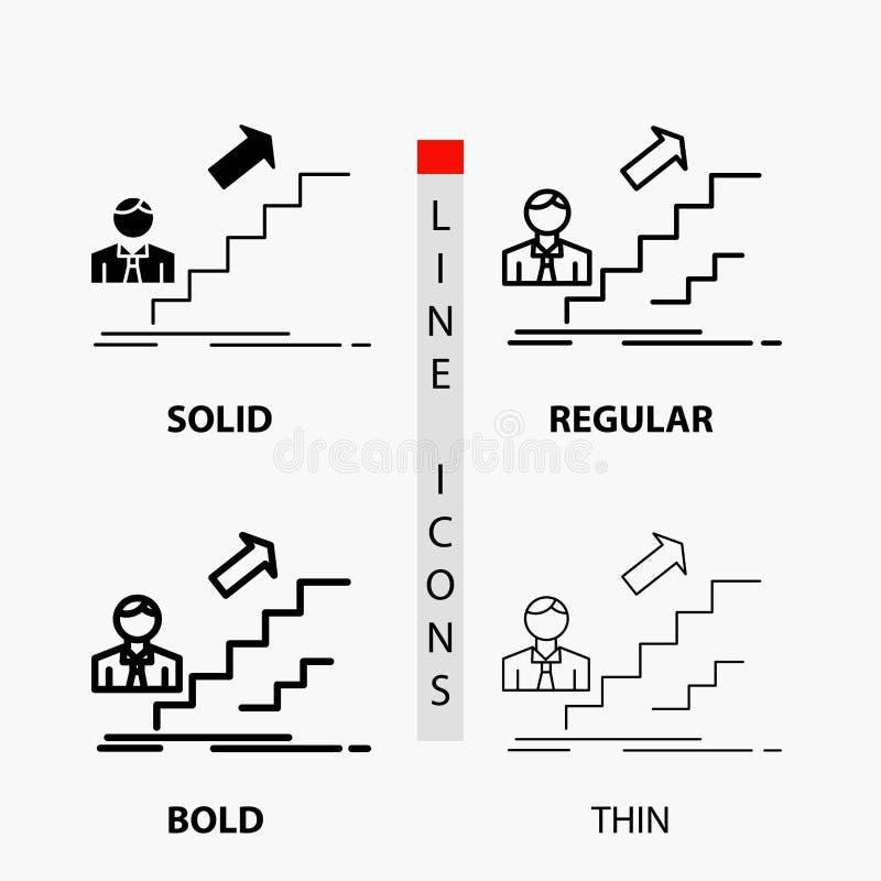 bevordering, Succes, ontwikkeling, Leider, carrièrepictogram in Dunne, Regelmatige, Gewaagde Lijn en Glyph-Stijl Vector illustrat vector illustratie