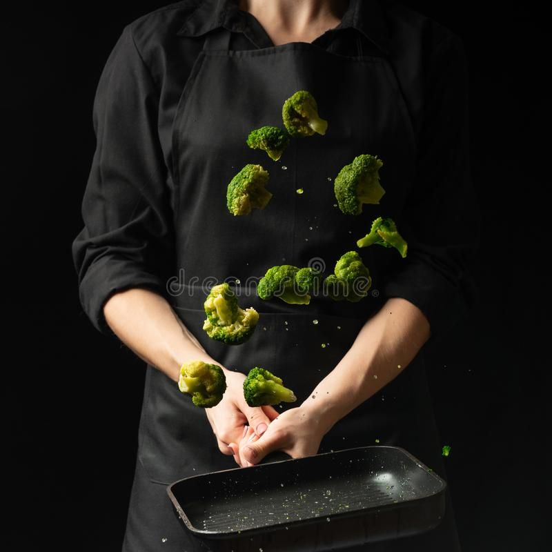 bevriezend voedsel, Dieet gezond voedsel Zwarte achtergrond voor het kopiëren van tekst Concept voedsel en het koken stock foto