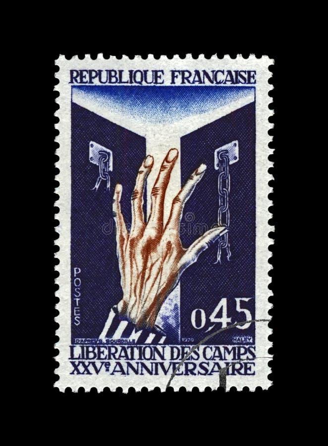 Bevrijding van concentratiekamp, volkerenmoord die, slachtoffer menselijke hand voor vrijheid, 25ste verjaardag, Frankrijk, circa royalty-vrije stock foto's