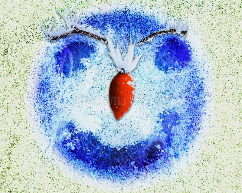 Bevroren abstract gelukkig gezicht met glimlach, rode neus en ogen royalty-vrije illustratie