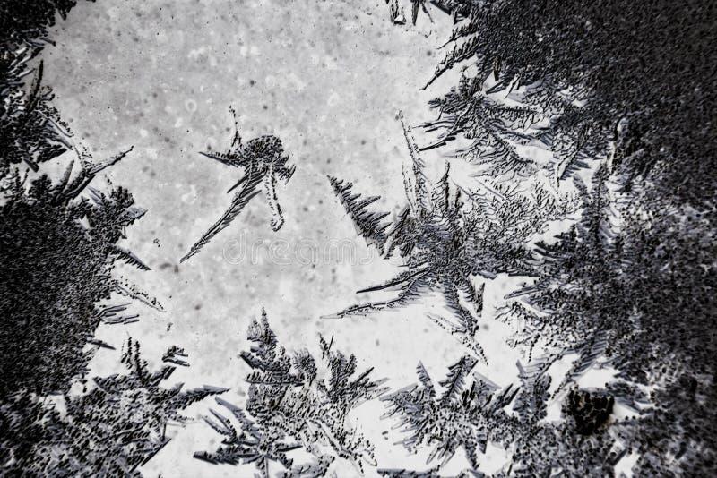 Bevroren bevroren achtergrond Ijspatroon op het glas Macrovorstdraai in negatieve zwarte witte foto stock fotografie