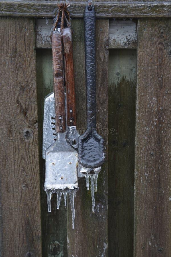 Bevroren BBQ werktuigen stock fotografie