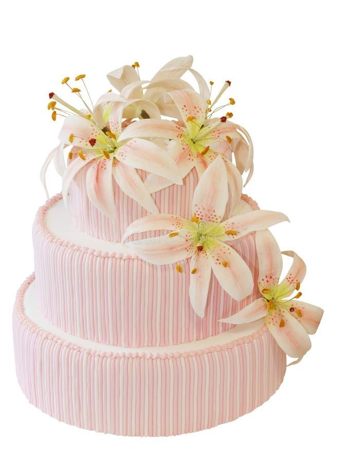 Bevroren Cake met de Decoratie van de Orchidee van het Suikerglazuur royalty-vrije stock foto