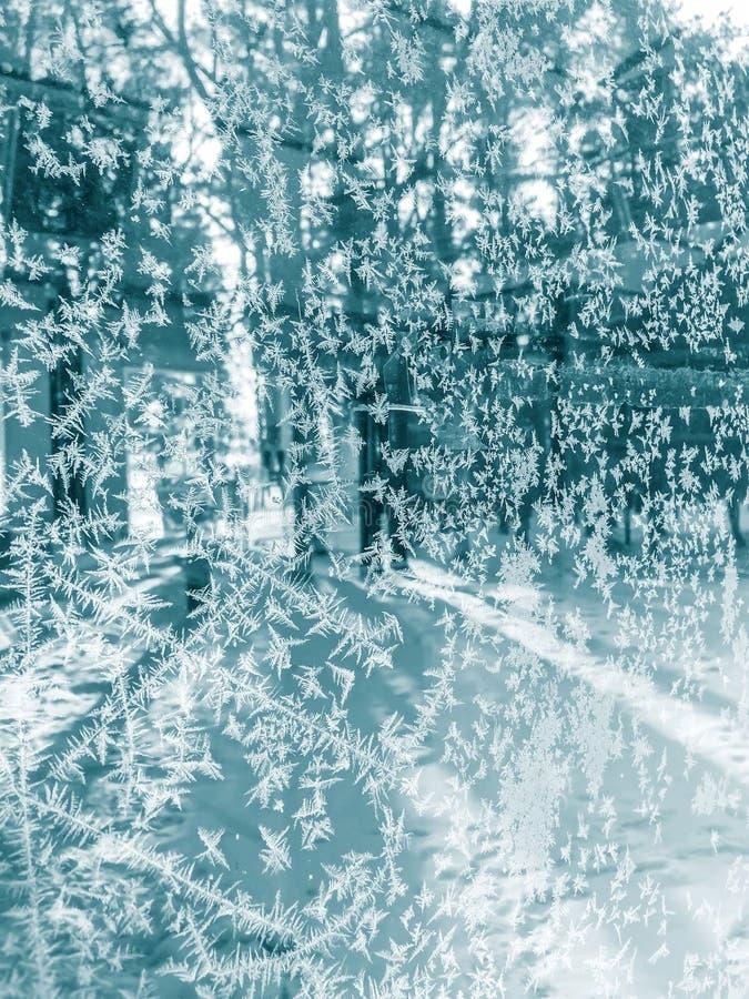 Bevroren de winterachtergrond met ijskristallen royalty-vrije stock foto