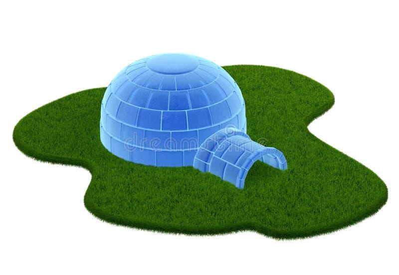 Bevroren die iglo op witte achtergrond wordt geïsoleerd vector illustratie