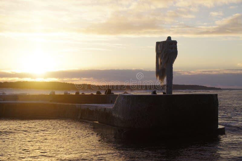 Bevroren havenlicht royalty-vrije stock afbeeldingen