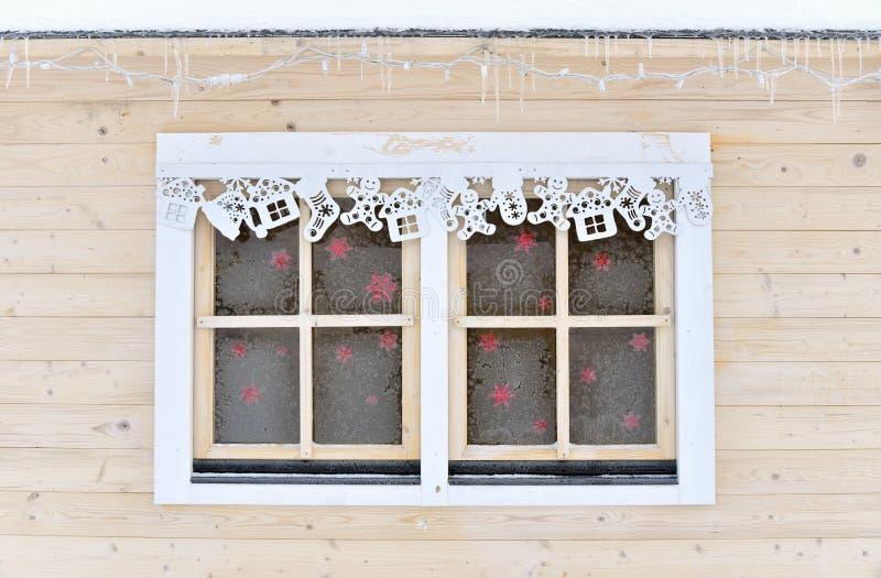 Bevroren Kerstmisvenster stock afbeeldingen
