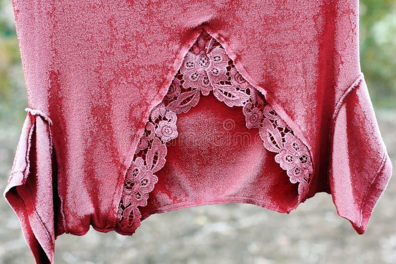 Bevroren kleren Vorst op kleren royalty-vrije stock afbeelding