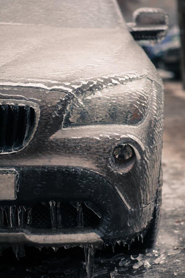 Bevroren koplamp van een auto stock foto