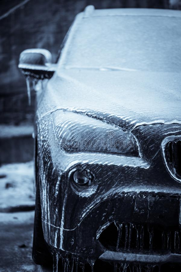 Bevroren koplamp van een auto royalty-vrije stock fotografie