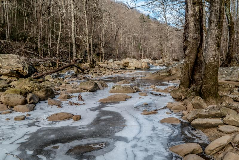 Bevroren kreek in de winter met sneeuw en ijs royalty-vrije stock fotografie