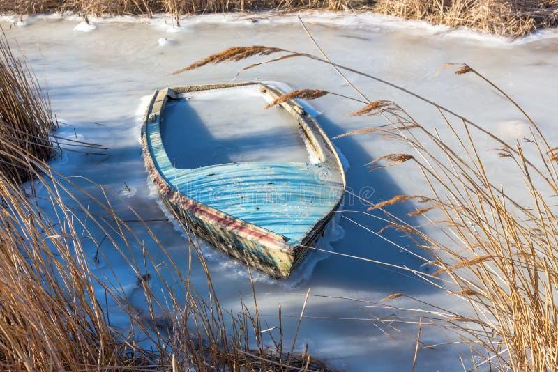 Bevroren lagune in noordelijk Griekenland royalty-vrije stock afbeelding