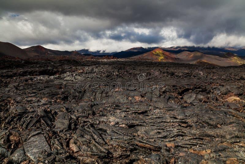 Bevroren lava van Tolbachik-vulkaan, Kamchatka royalty-vrije stock afbeeldingen