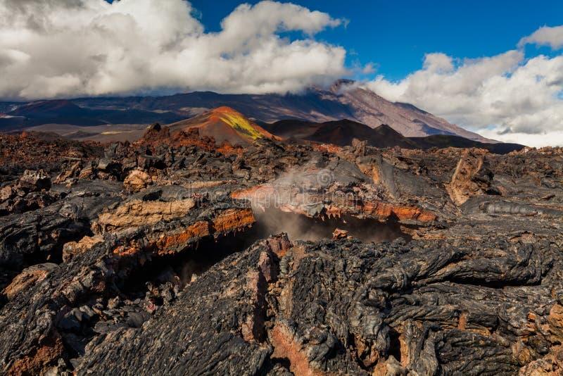 Bevroren lava van Tolbachik-vulkaan, Kamchatka stock foto's