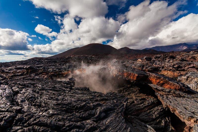 Bevroren lava van Tolbachik-vulkaan, Kamchatka royalty-vrije stock foto