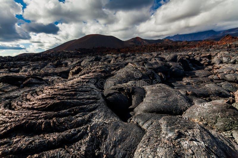 Bevroren lava van Tolbachik-vulkaan, Kamchatka stock afbeelding