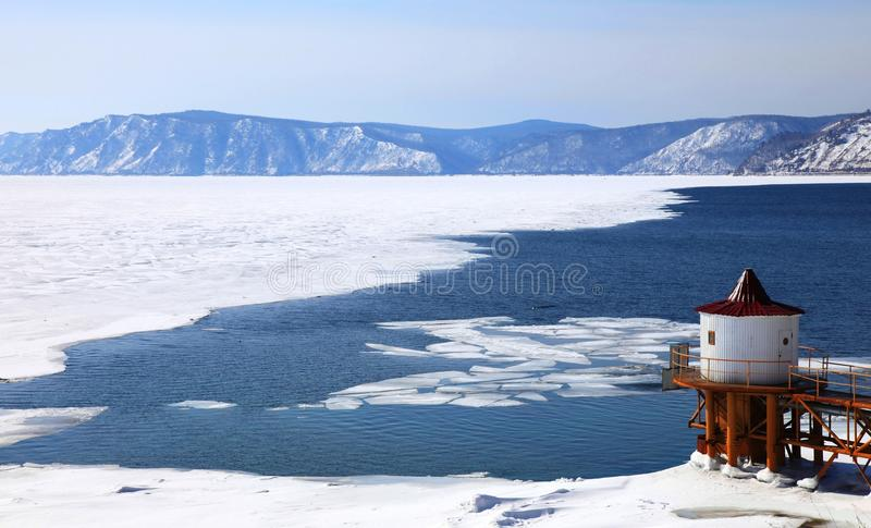 Bevroren Meer Baikal royalty-vrije stock fotografie
