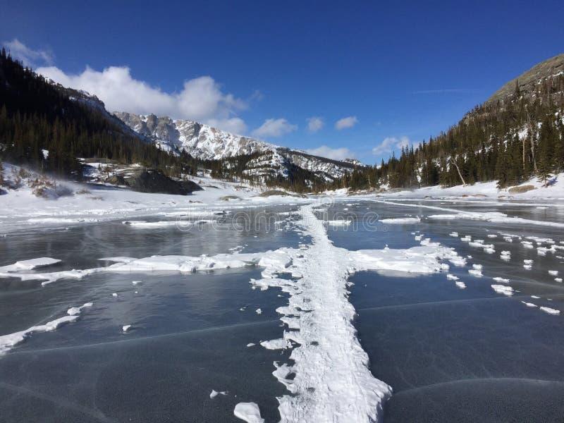 Bevroren meer in Rocky Mountain National Park royalty-vrije stock foto
