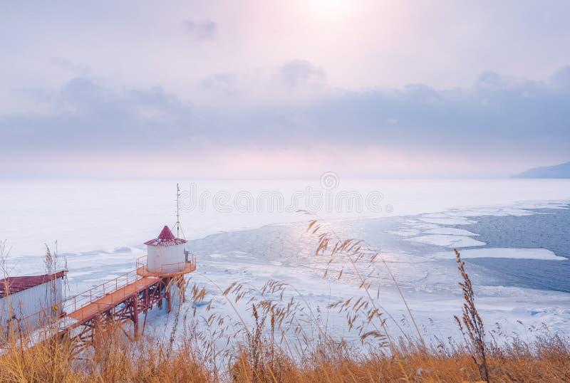 Bevroren meer in winterï ¼ ŒLake de Baykal, Rusland royalty-vrije stock foto's