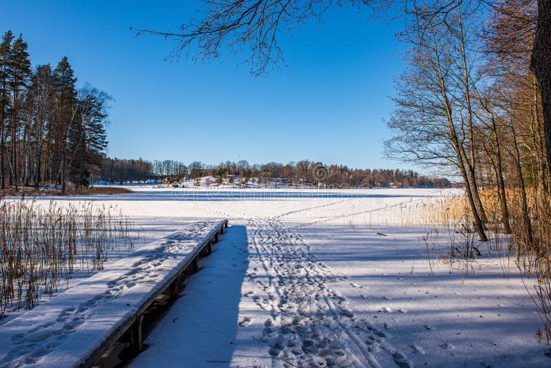 bevroren meerkust in de winterplatteland royalty-vrije stock foto's